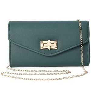 Hunter Green & Gold Envelope Clutch  Crossbody